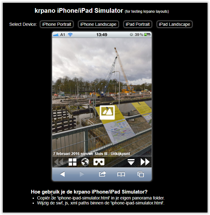 Klik op image en start de iPhone en iPad Simulator in de browser.